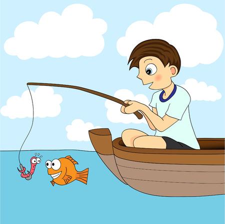 kid vector: Boy pesca en un barco
