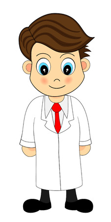Cute Looking Cartoon Illustration of A Scientist in Lab Coat Vector