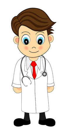 stethoscopes: Cute Looking Cartoon Illustration of A Doctor Illustration