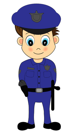 Cute Cartoon Male Police Officer in Blue Uniform Vector