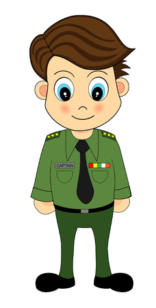 general: Cute Cartoon Army Officer Illustration