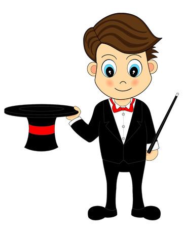 Cute Cartoon goochelaar met hoed en Wand Vector Illustratie