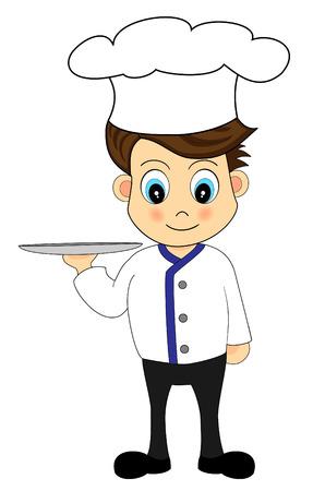 Cute Cartoon  Cute Chef with a tray