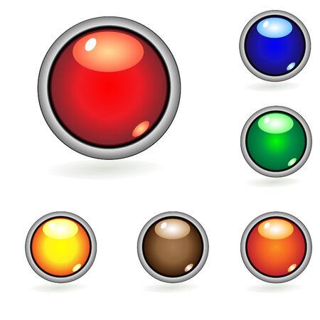 Six shining glossy web round buttons Illustration