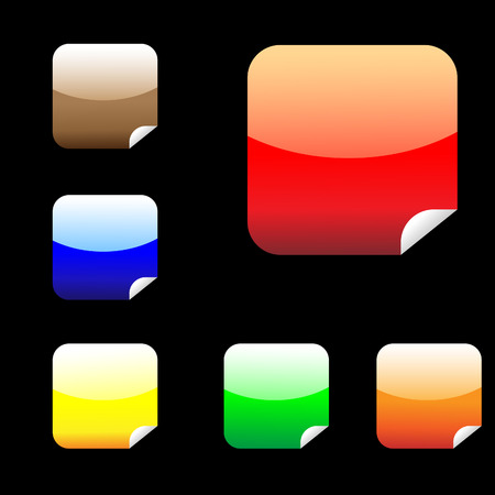 Six shiny square stickers Vector