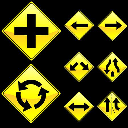 Eight Diamond Shape Yellow Road Signs Set 2