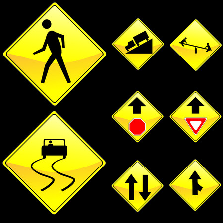 Eight Diamond Shape Yellow Road Signs Set 4 Illustration