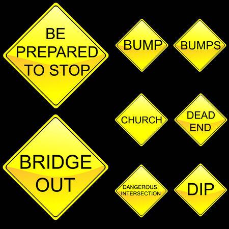 Eight Diamond Shape Yellow Road Signs Set 6 Illustration