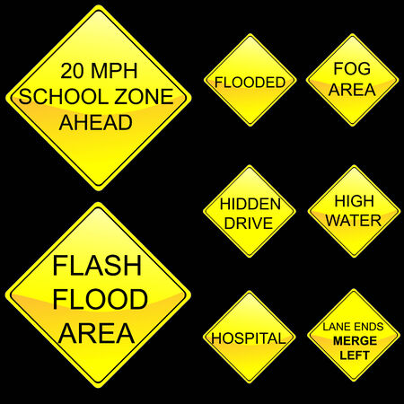 Eight Diamond Shape Yellow Road Signs Set 7 Illustration