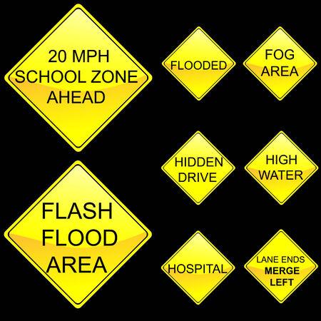 flood area sign: Eight Diamond Shape Yellow Road Signs Set 7 Illustration