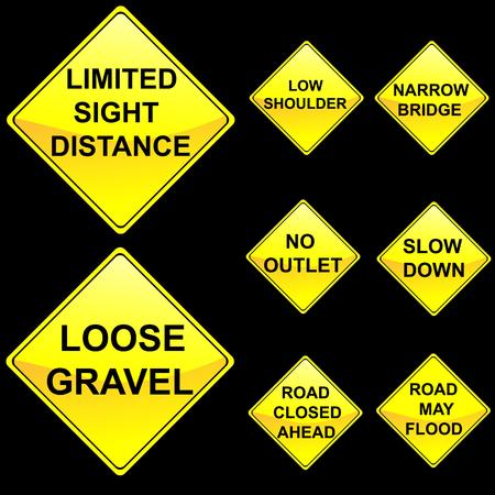 Eight Diamond Shape Yellow Road Signs Set 8 Stock Vector - 5224242