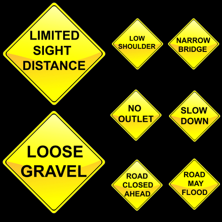 road closed: Eight Diamond Shape Yellow Road Signs Set 8