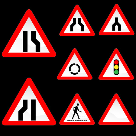 Eight Triangle Shape Red White Road Signs Set 3 Stock Vector - 5239898