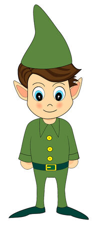 illustration of a cute green christmas elf