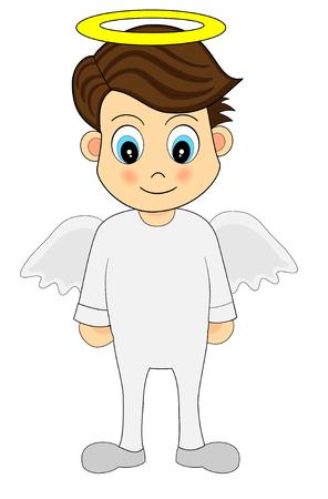 Illustration of a smiling  Cute Angel Boy