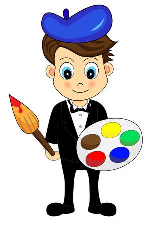 cartoon painter: Cute Little Boy Artist