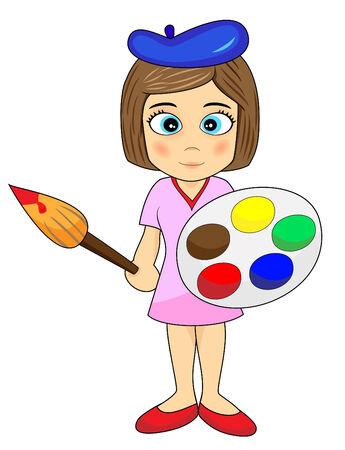 cartoon painter: Cute Little Girl Artist