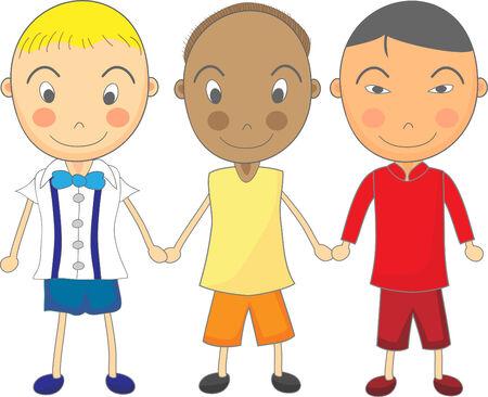 multirracial: Cute Child Drawing of Multiracial Boys Holding Hands Ilustração