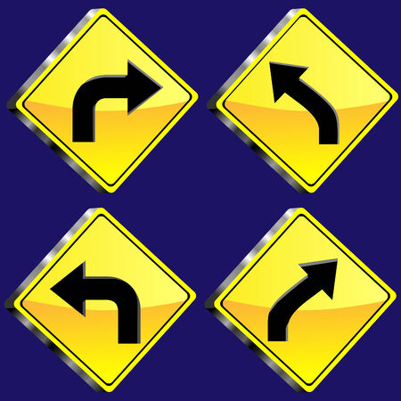 Four Diamond Shaped Yellow Glossy 3D road sign Vector