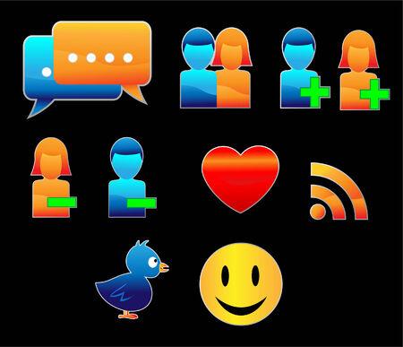 Shiny Social Networking Web Icons Vector