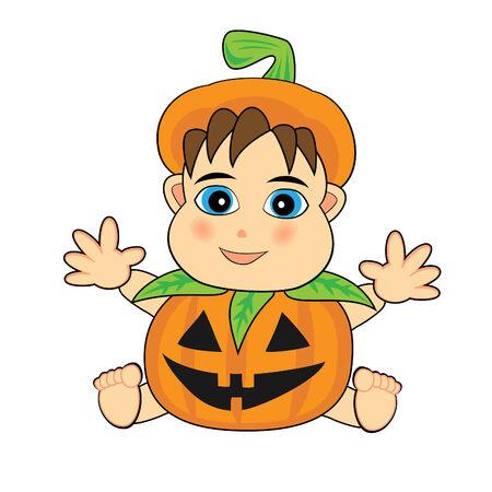 cute baby wearing a jack o lantern costume