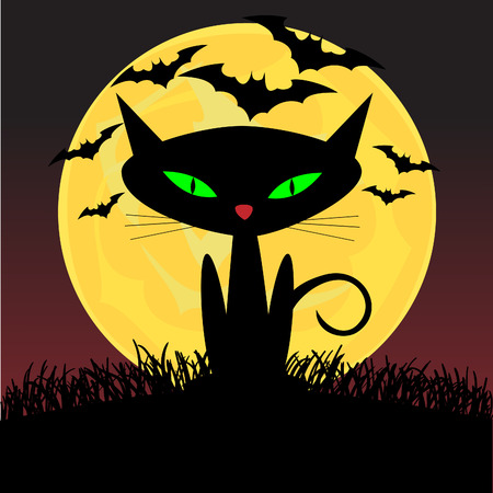 Spooky looking black cat with green eyes sitting under the moonlight  Illustration