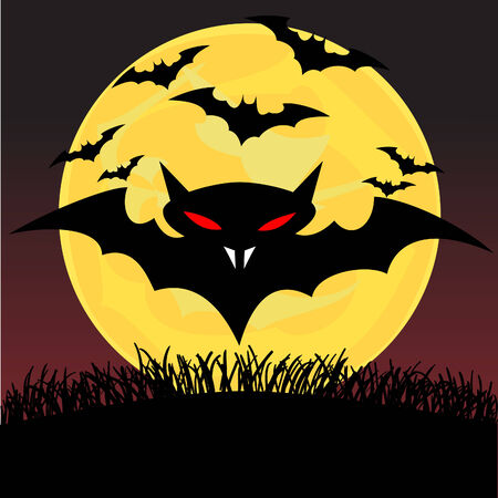 Spooky looking black bats with red eyes under the moonlight Stock Vector - 7822835