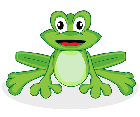 cute happy looking tiny green frog with big eyes  Vector