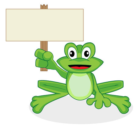 cute happy looking tiny green frog holding up a blank sign