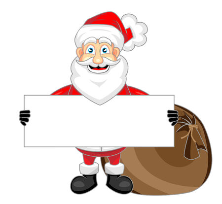 cute happy looking santa claus holding a blank sign