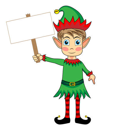 cute and happy looking christmas elf holding a blank wooden sign