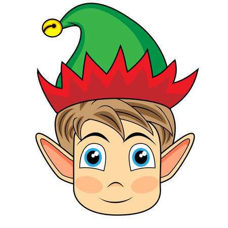 cute and happy looking face of a christmas elf  Illustration