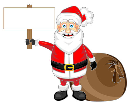 cute happy looking santa claus holding a wooden blank sign   Illustration