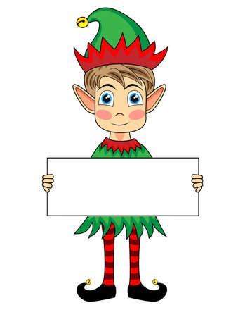 duendes: lindo y feliz mirando elfo de Navidad sosteniendo un signo en blanco