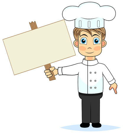 perfect sign: cute boy chef holding a wooden blank sign