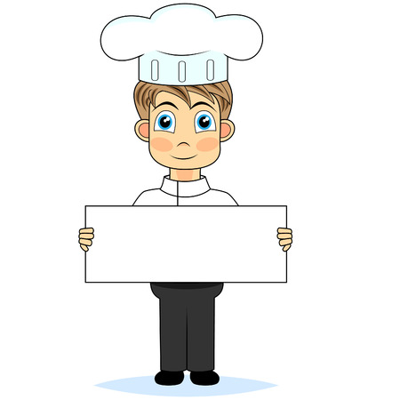 perfect sign: cute boy chef holding a blank sign