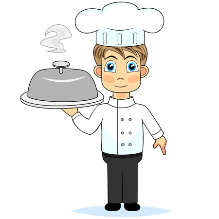 cute boy chef presenting a meal  Vector