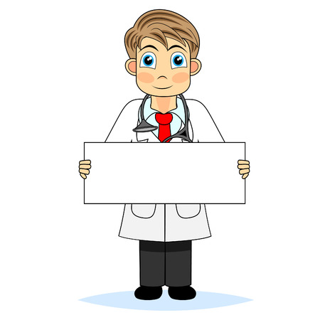 blank sign: Cute boy doctor holding a blank sign