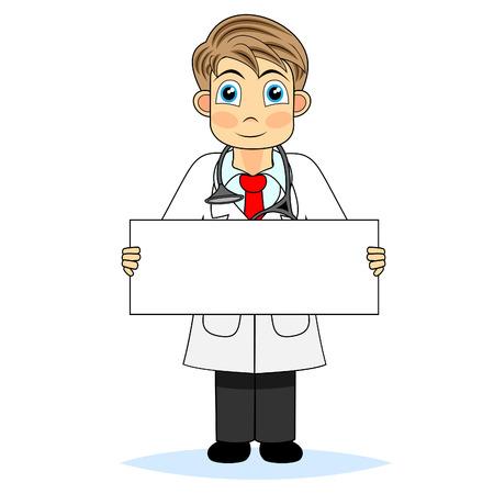 medico caricatura: M�dico de ni�o lindo sosteniendo un signo en blanco