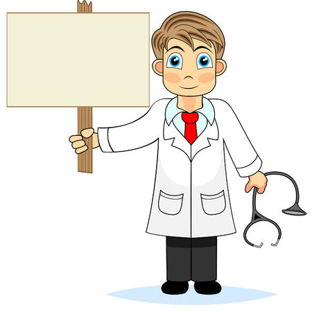 Cute boy doctor holding a blank wooden sign  Illustration
