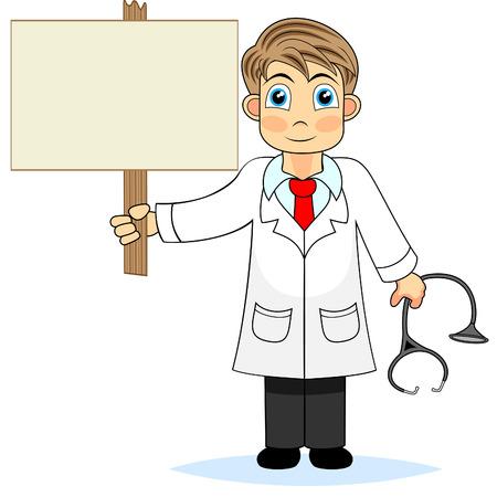 medico caricatura: M�dico de ni�o lindo sosteniendo un signo de madera en blanco