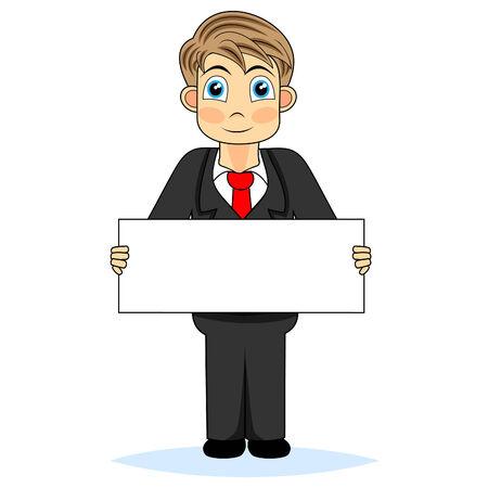Cute boy businessman holding blank sign  Illustration