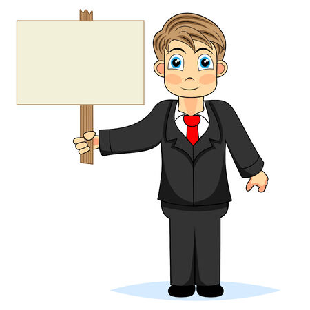 blank expression: Cute boy businessman holding wood sign