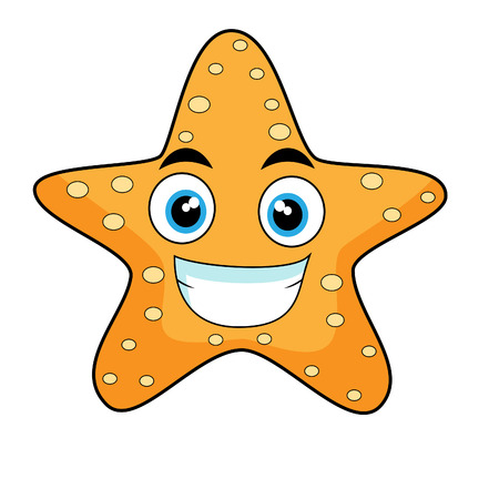 cartoon star: cute looking starfish  Illustration