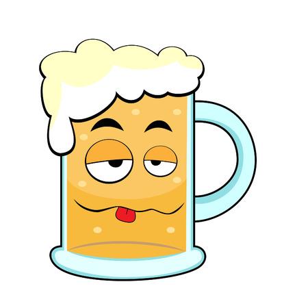 cute drunk beer mug Stock Vector - 8285818