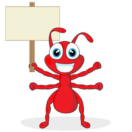 hormiga caricatura: lindo hormiga roja poco con signo de madera