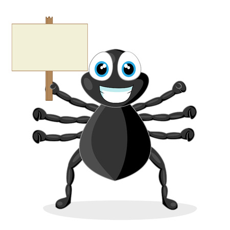 cute little spider with wood sign  Illustration