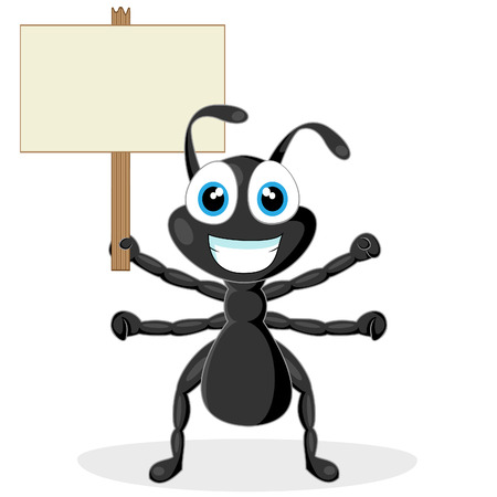cute little black ant with wood sign Stock Vector - 8285832