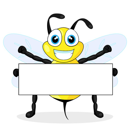 cute bee holding blank sign  Illustration