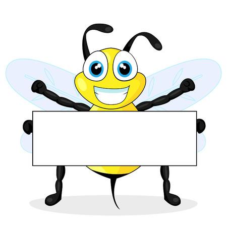 abeja caricatura: signo de abeja lindo celebración en blanco  Vectores